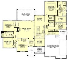 This beautiful 4 bedroom, Craftsman style house plan offers great rustic curb appeal. Browse our huge selection of house plans today! Flip layout so master is where the other 2 bedrooms are? New House Plans, Dream House Plans, House Floor Plans, European Plan, Casa Patio, Craftsman Style House Plans, Craftsman Houses, Craftsman Interior, Plan Design