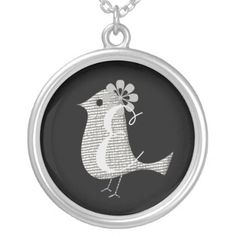 #cute - #Cute  Chic Silver Bird Monogram Necklace