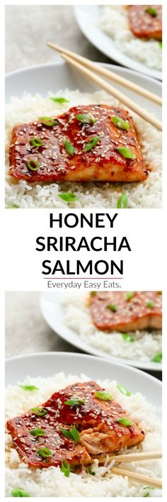 This Asian Honey Sriracha Salmon recipe is bursting with sweet and spicy flavor Quick enough for weekdays, but elegant enough for entertaining! Salmon Recipes, Seafood Recipes, Cooking Recipes, Healthy Recipes, Honey Recipes, Sriracha Recipes, Salmon Food, Asian Fish Recipes, Sushi Recipes