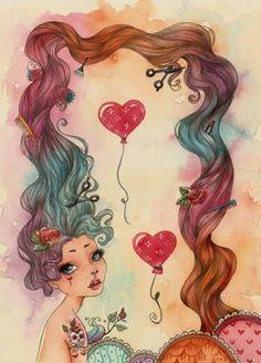 RapunzelRainbow - Sabrina Eras, art girl, heart illustration, tattoo, drawing