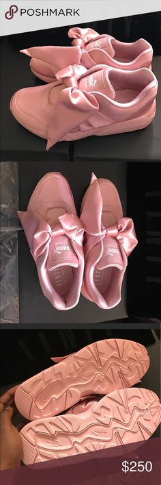 Rihanna Fenty x puma satin pink bow sneakers New  authentic brand New Rihanna Fenty x puma pink satin bow sneakers with box and dust bag Puma Shoes Sneakers