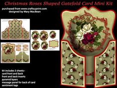Christmas Roses Shaped Gatefold Card Mini Kit on Craftsuprint designed by Mary MacBean - Shaped gatefold card with beautiful Christmas Roses. The kit has 3 sheets which include the card fronts and back, front and back inserts, pyramid layers, message panel for the back of the card and sentiment tags. There are four sentiment tags including a blank one for your own message.  - Now available for download!