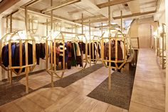 LN-CC is a London-based progressive retail concept quite like no other; an evolving platform of curated ideas that encompasses fashion, lifestyle, music and books. Boutique Interior, Shop Interior Design, Retail Design, Simple Closet, Shops, Retail Concepts, Branding, Brick And Mortar, Retail Interior