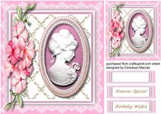 A lovely Cameo in Cerise with Beautiful flowers  has two greeting tags and a blank one