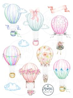 Hot Air Balloons Clipart Watercolor by Monique Digital Art on Planner Stickers, Printable Planner, Hot Air Balloon Clipart, Balloon Invitation, Invitation Birthday, Invitations, Happy Birthday Images, Balloon Decorations, Cute Stickers