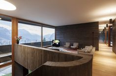 Concrete wood cladding with a breathtaking view - Villa Comano in Switzerland Designed by Attilio Panzeri & Architects, Villa Comano is a family house which, as its name suggests, is located in the Swiss municipality of Comano. Villa, Lugano, Wood Cladding, Concrete Wood, Cozy Corner, Lounge Areas, Modern Industrial, Contemporary Architecture, Interior And Exterior