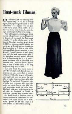 Free Vintage Boat Neck Blouse Pattern