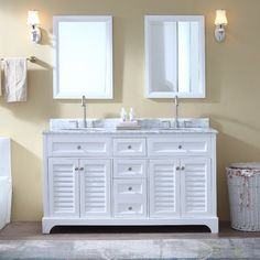 This bathroom vanity set includes a white cabinet with soft-close drawers and doors, Italian carrara marble countertop with stunning double-thick beveled edges and undermount ceramic sinks. Countertop and sink pre-installed. Please note that due to the natural characteristics of the stone, the color and/or pattern of each countertop may vary from the pictures. No 2 slabs of marble are the same! The countertop is 100% natural carrara marble imported from Italy. Cabinet frame, doors, and d...