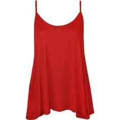 Dalia Strappy Swing Top (£6) ❤ liked on Polyvore featuring tops, shirts, tank tops, tanks, red, red tank top, strappy tank, stretch tank top, red singlet and red shirt