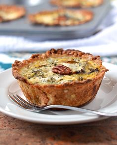 Make ahead Mini Quiches with Pecan Crust. Perfect for Thanksgiving breakfast or holiday brunch!