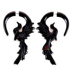 PHOENIX Organic Horn Fake Gauge Earrings 1 Pair Handmade. $16.80, via Etsy.
