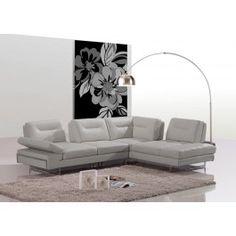 Carmel Modern Taupe Italian Leather Sectional Sofa w/ Adjustable Backrests