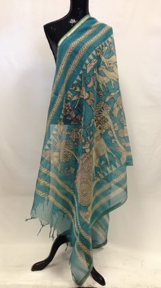 - An elegant sarang dupatta block prints throughout. This dupatta is artistic elegant, classy & is a must buy for your wardrobe. This dupatta naturally dyed is made by skilled artisans.. Add it to you
