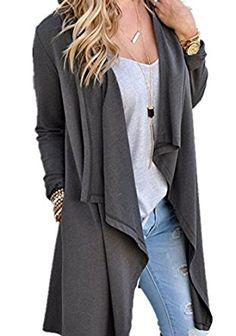 Poulax Women's Solid Lightweight Knitted Open Front Long Trench Coat Cardigan at Amazon Women's Clothing store: