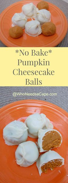 No Bake Pumpkin Cheesecake Balls are a fun and yummy way to eat pumpkin this fall! SO delish and really easy to make! | Who Needs a Cape?