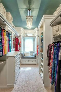 Small walk in closet ideas and organizer design to inspire you. diy walk in closet ideas, walk in closet dimensions, closet organization ideas. Closet Bedroom, Closet Space, Bedroom Decor, Bedroom Ceiling, Girl Closet, Wardrobe Closet, Bedroom Ideas, Bedroom Styles, Bedroom Colors