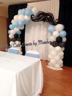 Mustache polka dot theme ballon arch