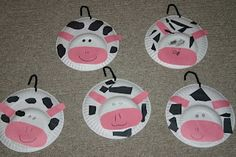 Letter C- Cows made out of paper plates for a kids craft!