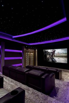Home Cinema: 70 Stunning Movie Room In Decoration - House Projects - - Home Theater Design Home Theater Room Design, Movie Theater Rooms, Home Cinema Room, Home Theater Decor, Basement Movie Room, Soho House, Home Theather, Luxury Homes Dream Houses, Dream House Exterior