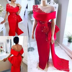 Saudi Arabic Red Prom Dresses With Sheer Neck Bow Train Beaded Pearls Mermaid Evening Gowns Satin Side Split African Formal Party Dress African Prom Dresses, Prom Dresses 2018, Women's Evening Dresses, Mermaid Prom Dresses, African Fashion Dresses, African Wedding Dress, African Dress, Mermaid Evening Gown, Elegant Dresses