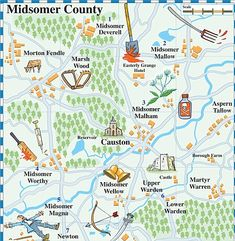 midsomer murders map of area Detective Series, Police Detective, Mystery Series, British Comedy, British Actors, John Nettles, Show Map, Midsomer Murders, Hercule Poirot