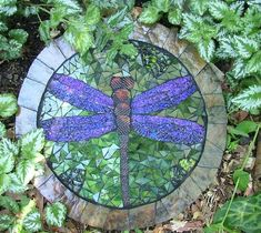 Dragonfly Stepping Stone - Delphi Stained Glass