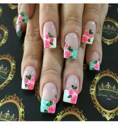 Nails with floajres - Best Nail Art Fabulous Nails, Gorgeous Nails, Pretty Nails, Funky Nail Art, Cute Nail Art, Beautiful Nail Designs, Beautiful Nail Art, Manicure E Pedicure, French Tip Nails