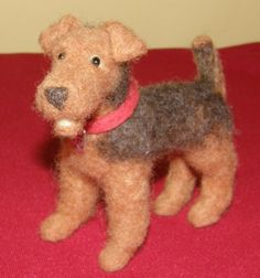 Airedale Terrier Needle Felted Wool Dog Sculpture by 8muddyfeet, $35.00