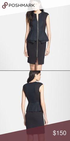 Ted Baker London Jamthun Peplum Sheath Dress Sheath silhouette, peplum waistline, cap sleeve, 2-way front zipper, split neckline, slit hem, fully lined. EUC. Ted Baker Dresses