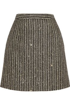 SAINT LAURENT Sequin-embellished metallic tweed mini skirt in gold, off-white and black -    This season's Saint Laurent collection was dominated by short hemlines. This elegant A-line skirt is crafted from exquisite gold tweed, interwoven with delicate sequins that catch the light as you walk.