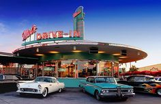 Mel's drive in with classic American fifties cars