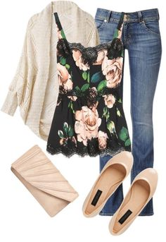 Floral tank top, cream cardigan, boot cut jeans, cream flats.