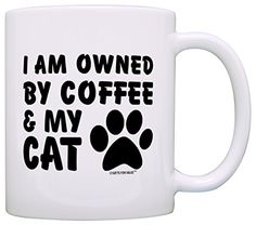 Cat Lover Gift Owned by Coffee and My Cat Pet Lover Gift Coffee Mug Tea Cup White * You can find more details by visiting the image link.