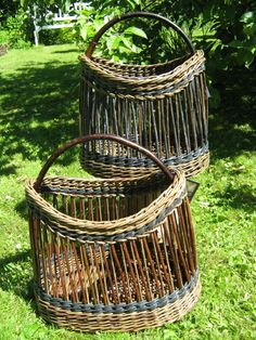 Shopping baskets, willow and bicycle tube