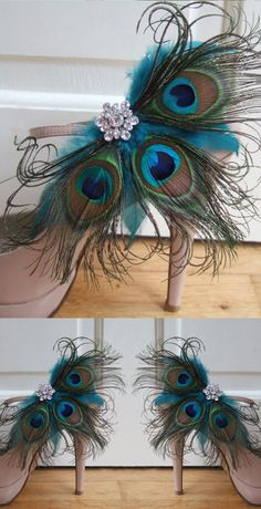 Handmade peacock Shoe clips in all Tones of the Peacock, in arrangement of three Peacock feathers, Teal Hen Hackle Feathers, and additional clusters centred with a crystal brooch. Winter Wedding Outfit Inspiration, wedding bridal ideas. Fashion Fashionista outfits. Burlesque costume. Christmas, New Years Eve party partywear. #christmas #newyearseve #christmasparty #partywear #peacockaccessories #peacock #winterweddings #bridal #weddingshoes #fashion #fashionista #fblogger #ootd…
