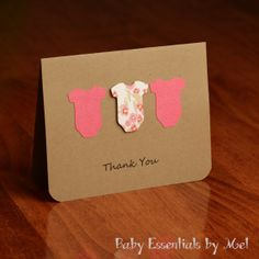 Set of 6 Thank You Cards, baby shower, new baby gifts, pink floral, gold, mauve on Etsy, $12.00