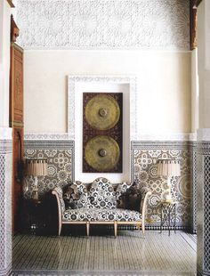 Fantastic zellij mosaic tile work and geps (carved plaster) in Royal Mansour hotel, Marrakech Morocco