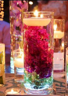 Flowers in water with candle