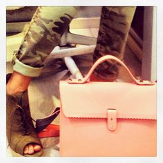 "Pinko army pant Hand made GReek leather bag ""Rien by penny vomva"" Caramello shoes"
