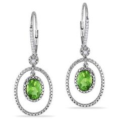 Sterling Silver, Diamond and Peridot Dangle Earrings, (.12 cttw, GH Color, I2-I3 Clarity): Jewelry: Amazon.com