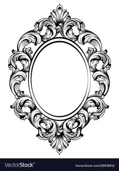 Baroque frame decor detailed rich ornament vector image on VectorStock Baroque Frame, Victorian Frame, Victorian Tattoo, Baroque Decor, Filigrana Tattoo, Picture Frame Tattoos, Spiegel Tattoo, Mirror Tattoos, Framed Tattoo