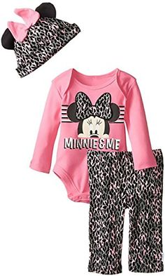 Disney Minnie Mouse Newborn 3 Piece Onsie Pant and Cap Set PinkGrey 69M >>> You can find more details by visiting the image link.