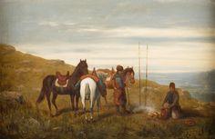 WŁODZIMIERZ ŁOŚ (1849 - 1888)  POPAS, 1886   olej, płyta; / 32x49 cm