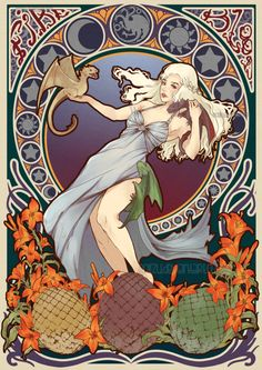 Art Nouveau illustration of Daenerys Targaryen from George R. Martin's A Song of Ice and Fire fantasy book series & Game of Thrones TV show. Art by Poiizu. Fantasy Book Series, Fantasy Books, Fantasy Art, Alphonse Mucha, Art And Illustration, Arte Game Of Thrones, The Mother Of Dragons, Fantasy Anime, Art Beat
