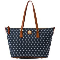 Dooney  Bourke Blue Yankees Shopper ($248) ❤ liked on Polyvore featuring bags, handbags, tote bags, blue, dooney bourke tote, blue tote bag, pocket tote, logo tote bags and pocket purse