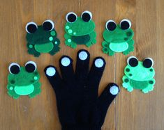 5 Five Green and Speckled Frogs Felt Animal by A2FeltSewFine