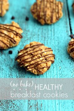 peanut butter no bake healthy breakfast cookies--sub soy butter for the pb.
