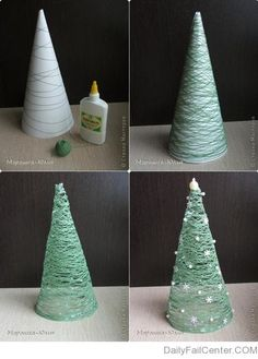 Christmas Tree using Yarn & Glue.these are the BEST Homemade Christmas Decorations & Craft Ideas!DIY Christmas Tree using Yarn & Glue.these are the BEST Homemade Christmas Decorations & Craft Ideas! Cute Christmas Decorations, Easy Christmas Crafts, Diy Christmas Tree, Christmas Projects, Christmas Holidays, Christmas Ornaments, Holiday Fun, Christmas Decorations Apartment Small Spaces, Christmas Tables