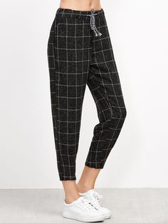 Shop Black Grid Print Drawstring Tapered Pants online. SheIn offers Black Grid Print Drawstring Tapered Pants & more to fit your fashionable needs.