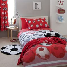 Catherine Lansfields Red Football Range - single & double duvet, curtains, throw, cushions & rug  Boys bedrooms
